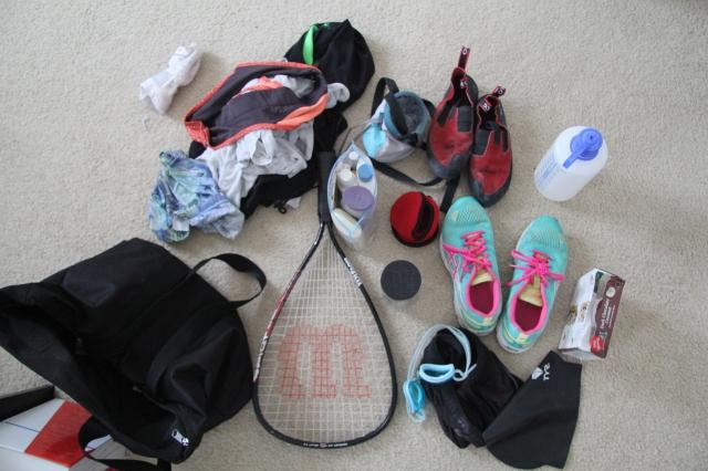 My gym bag contents. I should buy a real gym bag.